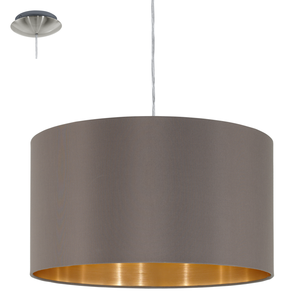 This Is A 1 Light Pendant With Glossy Fabric Shade And Gold Inner