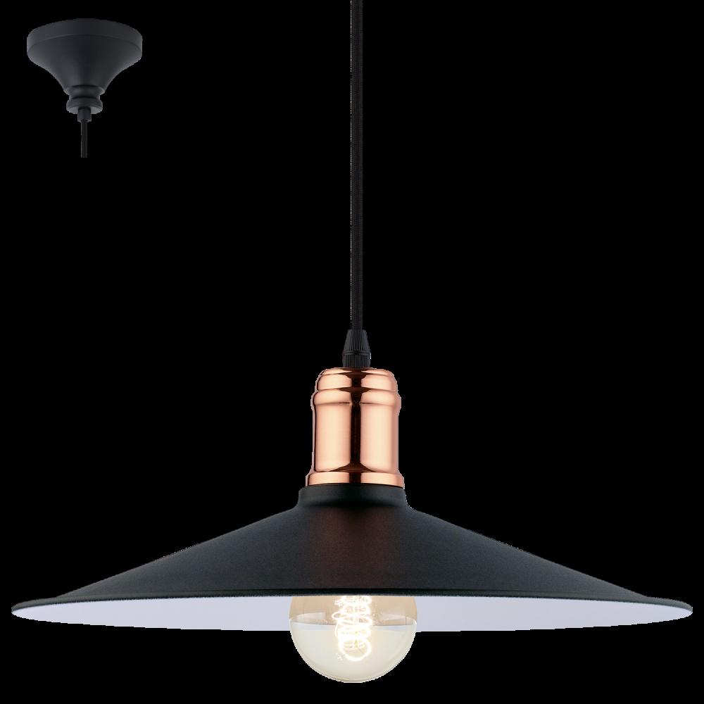 Eglo 49452 Bridport 1 Light Ceiling Pendant Black Copper