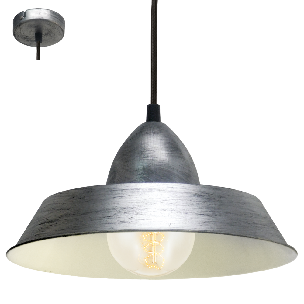Commercial Lighting Auckland: Eglo 49246 Auckland 1 Light Ceiling Pendant Antique Silver