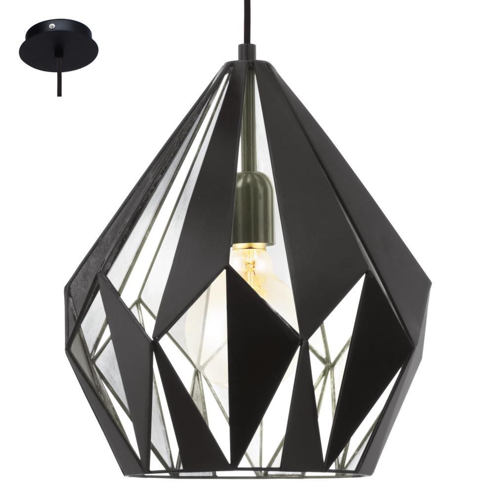 Eglo 49255 Carlton1 1 Light Ceiling Pendant Black Silver